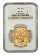 1904 20 Ngc Ms63 - Liberty Double Eagle - Gold Coin