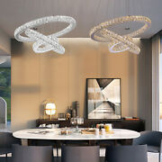 Led Crystal Chandeliers Pendant Lamp Round Ceiling Light Lamp 3 Rings Home Usa