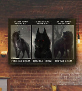 If They Stand Behind You Protect Them Black Wolf Decor Poster