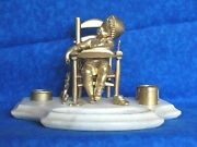 Bronze Baby Inkwell High Chair Toy Drum Shoe Clown Articulate Parts Antique