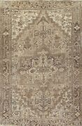 Antique Muted Geometric Heriz Hand-knotted Area Rug Wool Oriental 9x12 Ft Carpet