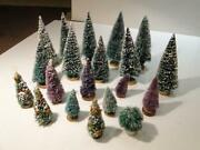Collection Of 19 Bottle Brush Christmas Trees 2 Purple 3 Decorated