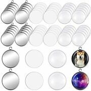 60 Pieces Sublimation Stainless Steel Pendant Tray Kits 20 Round Blank Bezel ...
