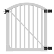 Vinyl Fence Gate 4 Ft. X 4 Ft. Uv Protected Spaced Picket Framed/arched Top