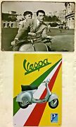Two 8x12 Tin Signs Audrey Hepburn Gregory Peck Movie Roman Holiday Vespa Scooter