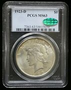 1923-d Peace Silver Dollar Pcgs Ms63 Cac Certified - 09837