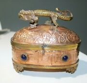 Copper And Brass Trinket Box With A Dragon And Faux Jewels Around The Box - India