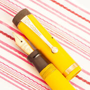 Vintage Parker Duofold Jr First Year Mandarin Yellow Lucky Curve Fountain Pen