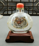 Chinese Natural Hair Crystal Hand Painting Tiger Collectable Snuff Bottle Art