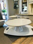 Food Network Fontinella Large Round White Cake Pedestal Stand Tray Beaded