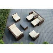 Ohana Outdoor Patio 9 Pc Mixed Brown Wicker Seating Set With