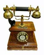 Antique Brass Victorian Rotary Dial Telephone Maharaja Wooden Etching Phone Home