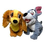 Disney Lady And Tramp Set Dog Plush Beanie Tote A Tail 9 Sparkle Ears