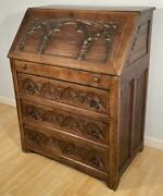 Antique French Gothic Revival Desk/secretary In Solid Oak Wood