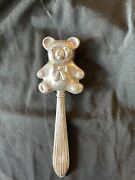 Foster And Baileys Sterling Silver Teddy Bear Baby Rattle