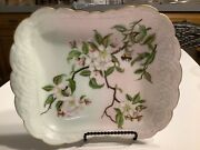 """Antique Vintage Haviland And Co. Limoges 11"""" X 8.5"""" Dresser Tray With Cherry Bloss"""