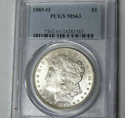 Pcgs Ms63 1885-o Morgan Silver Dollar New Orleans Mint Choice Uncirculated