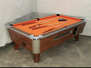 7and039 Valley Commercial Coin-op Pool Table Model Zd-5 New Bright Orange Cloth