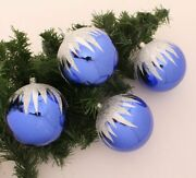 Christmas Tree Balls Jewelry Blue Silver Glitter Andoslash3 11/16in Large 4 Piece