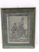 Art Painting Engraved In Bronze And Brass Persian Man W Guitar Marked Collectible
