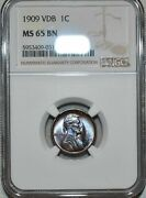 Ngc Ms65 Bn 1909-p Vdb Lincoln Cent Attractively Toned Blazing Specimen