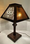 Antique Arts And Crafts Mission Oak Table Lamp Stickley Limbert Style