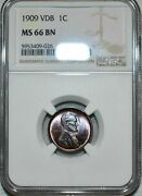 Ngc Ms66 Bn 1909-p Vdb Lincoln Cent Attractively Toned Specimen