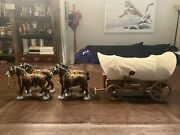 Antique Primitive Toy Wooden Prairie Schooner Covered Wagon Stagecoach/ Horses