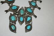 Old Navajo Morenci Turquoise Sterling Silver Squash Blossom Necklace 286g