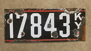 1913 1914 Kentucky License Plate 17843 Porcelain Tricolor Red White On Green G