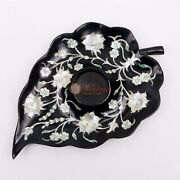Black Marble Leaf Shape Candle Holder Mother Of Pearl Floral Inlay Art Home Deco