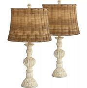 Cottage Table Lamps Set Of 2 Antique White Candlestick Rattan Tapered Drum Shade