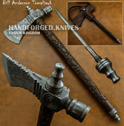 Bill Anderson's Hand Forged Damascus Pipe Tomahawk Knife, Hatchet, Axe,integral