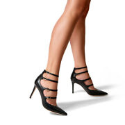 Marion Parke Mitchell Iconic Leather Strappy Mary Jane Stiletto Pump Black