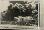 1947 Press Photo Burning Oil Refineries After Ship Explosion In Texas City, Tx