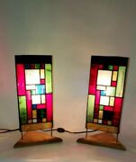 Pair Of Frank Lloyd Wright Inspired Mid Century Modern Stained Glass Wood Lamps