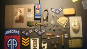 Huge Military Lot - Photo - Ribbon- Patch - Metals - Belt - Shell - Button Rare