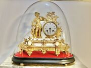 1800and039s Antique French Gilt Bronze Mantel Clock With Glass Dome Runs