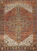 Antique Heriz Geometric Hand-knotted Area Rug Dining Room Oriental 8and039x11and039 Carpet