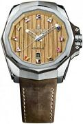 New Corum Admiraland039s Cup Brown Strap Titanium Menand039s Watch 082.500.04/0f62 Aw01