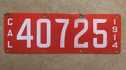 1914 California License Plate 40725 Porcelain White On Red First Year
