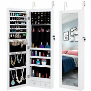 Fashion Mirrored Jewelry Cabinet Armoire Storage Organizer Wall Door Mounted Us