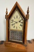 Antique 19th C Teutonia German Gothic Wooden Clock Full Working Order With Key