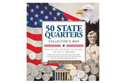 50 Fifty Us State Map Folder Album Coin Holder Commemorative Quarters Collectors