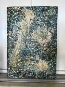 Vintage Abstract Painting Jackson Pollock Style Signed Bates