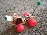 Vintage Fisher Price Little Snoopy Pull Toy 1965 2034 Works Great Usa Made