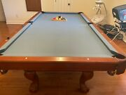 Brunswick 8 Foot Claw Pedestal Pool/ping Pong Table. With Wall Rack And 5 Cues.