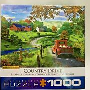 Pickup Red Truck 1000 Pc Jigsaw Puzzle Farm Barn Fall Country Drive Scene