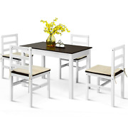 5 Pcs Solid Wood Compact Kitchen Dining Table And Chair Set Family Meals Furniture