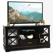 Glass Door Tv Stand Cabinet Drawer Storage Shelves Media Console Table Hallway